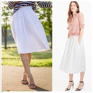 J.Crew • clip dot white midi skirt cotton petite